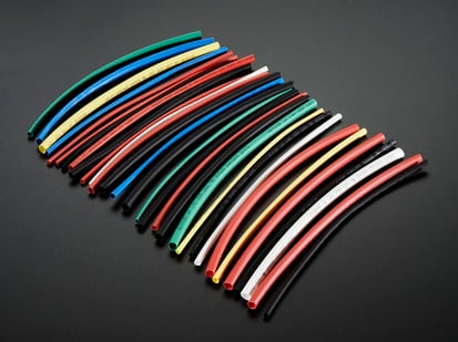 Array of many colorful heatshrink tubes.