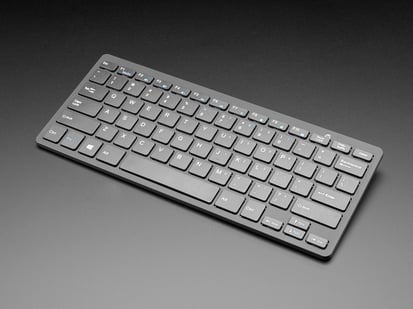 Angled shot Mini Wireless Keyboard - Black w/ Batteries