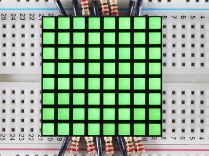 """1.2"""" 8x8 Matrix Square Pixel - Pure Green."""
