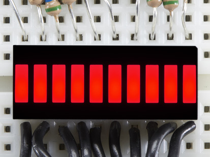 Red Lit up 10 Segment Light Bar Graph LED Display