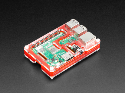 Angled shot of assembled Pibow Coupé - Enclosure for Raspberry Pi 2 / B+ / Pi 3 / Pi 3 B.