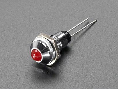 5mm Chromed Metal Wide Convex Bevel LED Holder with red LED installed