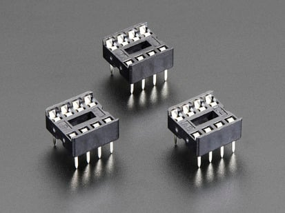 Pack of 3 IC Sockets for 8-pin 0.3 inch Chips