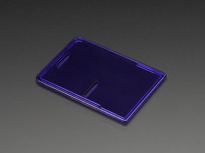 Angled shot of purple acrylic Raspberry Pi case lid.