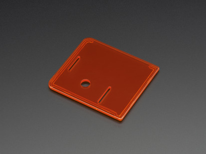 Angled shot of orange lid for Raspberry Pi Model A+ Case.