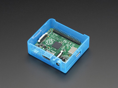 Angled shot of blue Raspberry Pi Model A+ Case without lid.