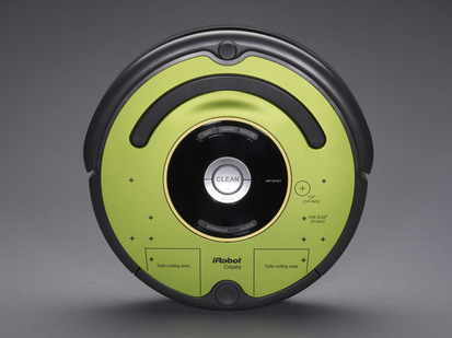 Round iRobot Roomba look-alike but with green body.