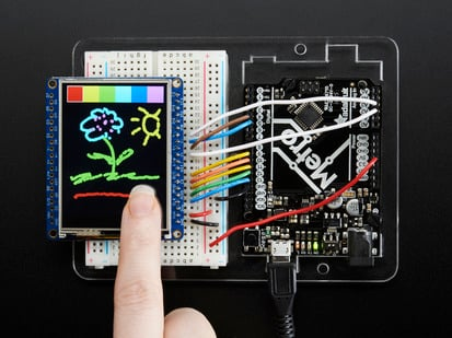 TFT breakout wired to arduino, hand doodling using touchscreen