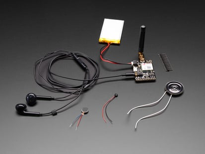 Adafruit FONA Starter Pack with battery, antenna, speaker and headset