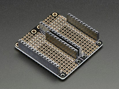 Double prototyping feather wing PCB with socket headers installed