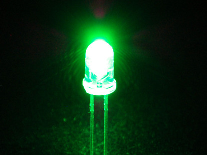 Single LED lit up bright green