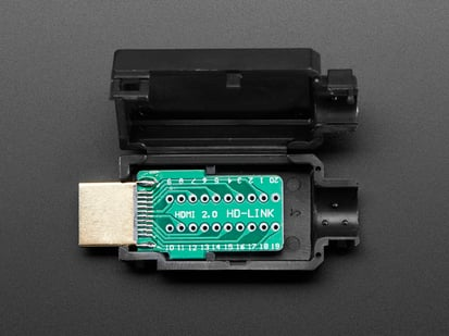 HDMI Plug Breakout Board with plastic snap-case