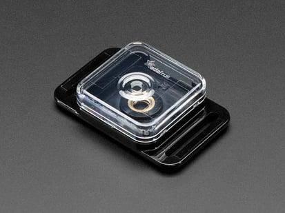 Angled shot of Raspberry Pi camera board case.