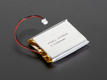 Lithium Ion Polymer Battery 3.7v 2500mAh with JST 2-PH connector