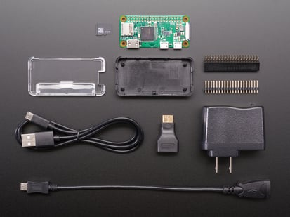 Raspberry Pi Zero, SD card, cables, headers and case