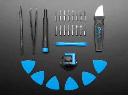 iFixit Essential Electronics Toolkit, with all tools laid out