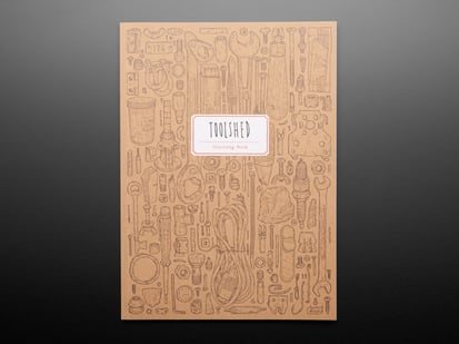 Front cover of Toolshed Coloring Book showing hundreds of outline-drawn tools