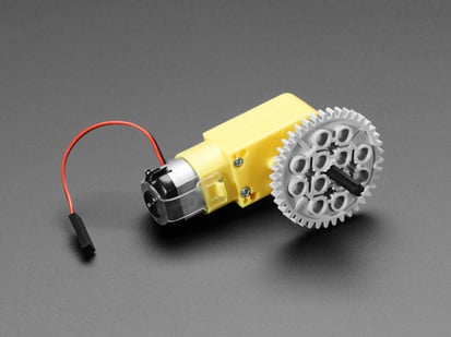 Lego Gear installed onto DC Gearbox TT Motor Axle, attached to TT motor