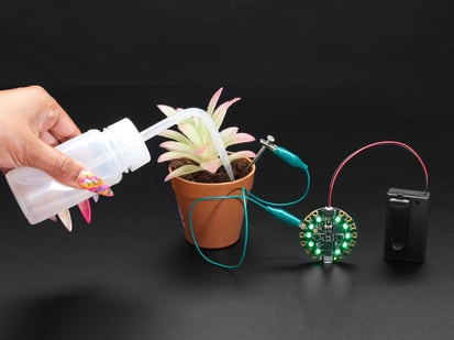 Hand squeezing a water bottle into a potted plant with metal nail stuck into soil. Nail connects to Circuit Playground lit up green.
