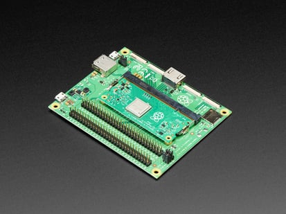 Raspberry Pi Compute Module 3+ Dev Kit with Compute Module plugged in