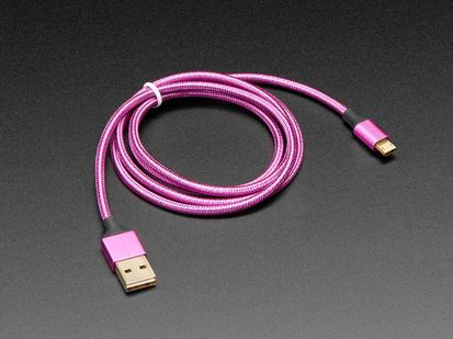 Fully Reversible Pink/Purple USB A to micro B Cable