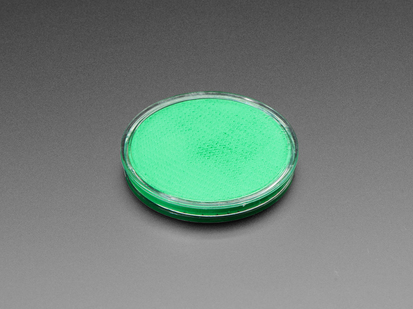 round green disc of fluorescent paint.