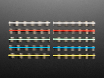 Break-away 0.1 inch 36-pin strip male header - Five different color plastics