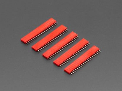 Five pack of 20-pin 0.1 Female Header - Red plastic