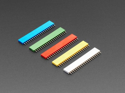 20-pin 0.1 inch Female Headers - Rainbow Color Mix Plastic - 5 pack