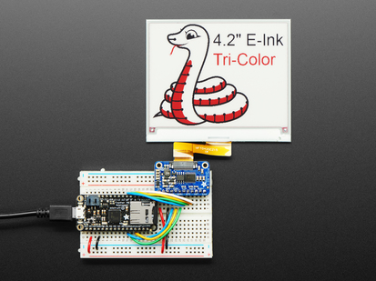 Adafruit eInk Breakout Friend with large E-Ink display attached, wired to Feather
