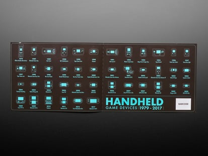 Sticker sheet showing each Retro handheld game device from 1979 - 2017 in black and aqua-blue