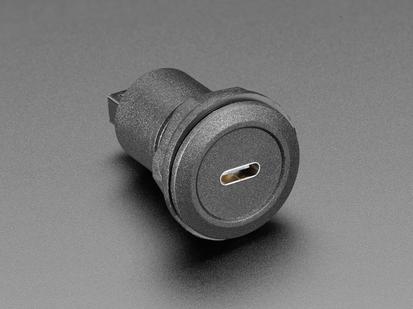 USB C Round Panel Mount Plug showing front port