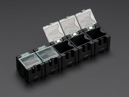 5 pack of Tiny Modular Snap Boxes for SMD component storage