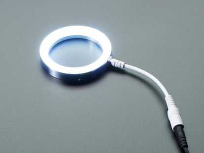 LED Ring Light with metal 76mm Diameter body, lit up