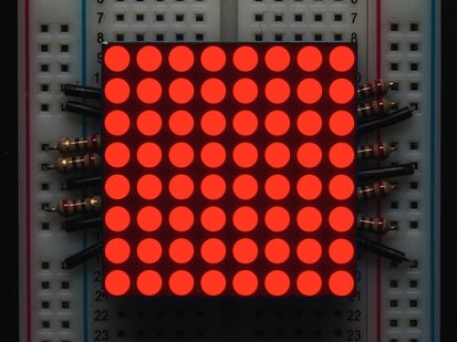 "Small 1.2"" 8x8 Ultra Bright Red LED Matrix."