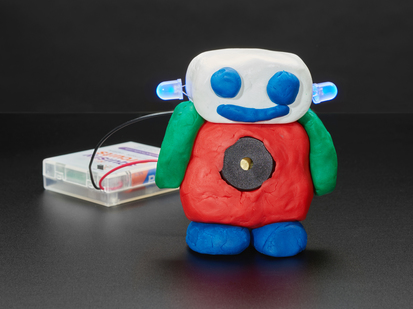 Friendly robot made with conductive dough, and LED ears