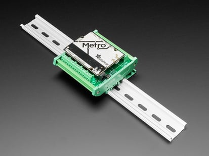 DIN Rail Terminal Block Adapter to Metro or Arduino mounted onto DIN rail