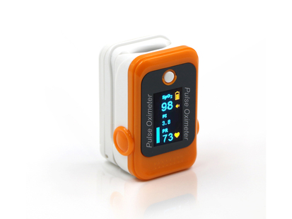 Orange and white finger clip pulse oximeter displaying pulse and blood oxygen information