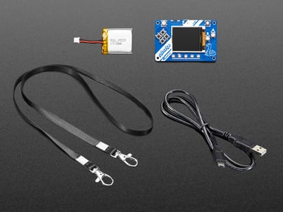 Adafruit PyBadge Starter Kit with PCB, lanyard, battery and cable
