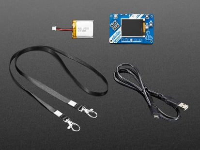 Adafruit PyBadge Low Cost Starter Kit with PCB, lanyard, battery and cable