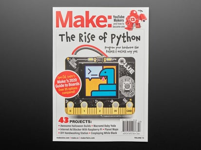 Front cover of Make: Magazine - The Rise of Python - Vol 74. The Rise of Python. Image of Adafruit CLUE board with cartoon blue snake on TFT display.