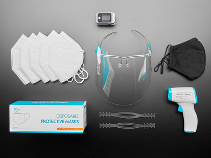 One face shield with glasses frame, one blue and white contact less thermometer, one black fabric face masks, five white K95 face masks, two black silicone ear savers, 50 blue face masks, and one finger pulse oximeter