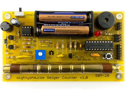 Assembled Geiger Counter Kit. Radiation Sensor with batteries and yellow PCB