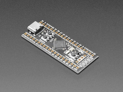 Angled shot of STM32F411 development board.