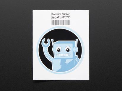 Circular blue sticker showing friendly robot waving