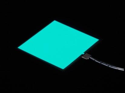 Lit square of aqua EL sheet