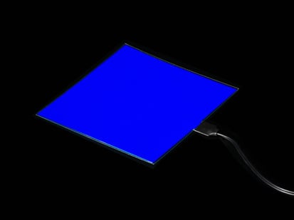 Lit square of blue EL sheet