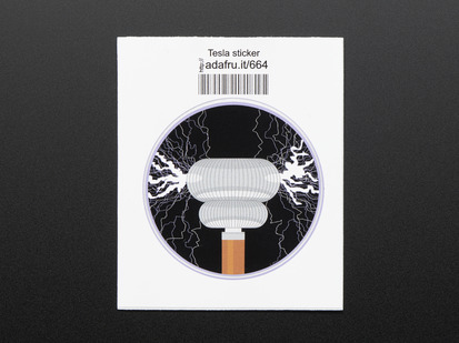 Circular sticker with tesla coil machine in copper and grey shooting out lavender and white brush discharges on a black background, trimmed in lavender. Mounted on white paper with barcode.