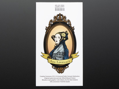 "Colorizes woodcut portrait showing bust of Ada Lovelace over light orange background, framed with banner reading ""Ada Lovelace"" Mounted on white paper with barcode."