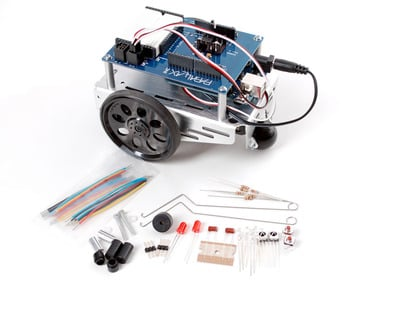 Metal-body robot with collection of loose components.